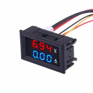 Digital Voltmeter AMP Meter  0-100V 0-10A Dual Red/Blue